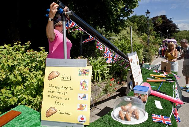 Plenty of stalls including 'Splat the Pasty' at Hayle Celebration Day 2016